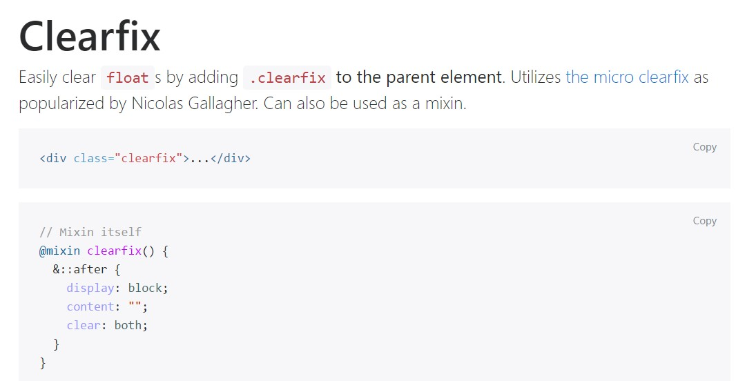 Bootstrap clearfix  formal documentation