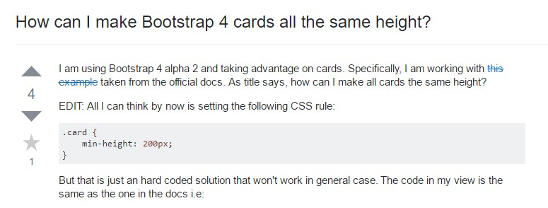 Insights on how can we  set up Bootstrap 4 cards just the  very same  height?