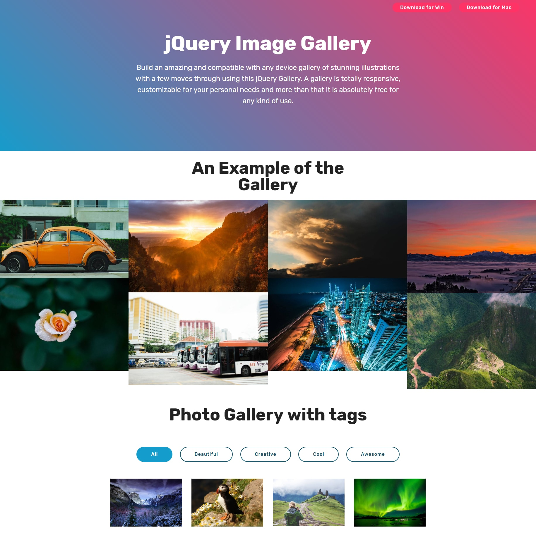 HTML Bootstrap Photo Gallery