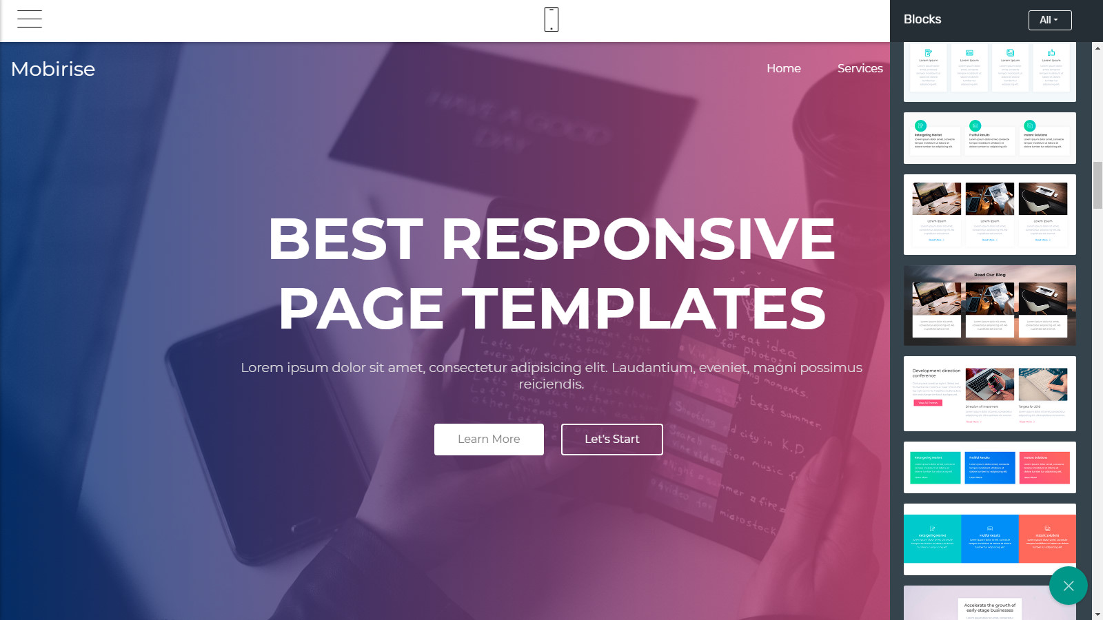 mobile page templates